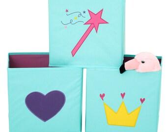 Girls Cube Storage Bins Heart Crown Magic Wand Mint Color