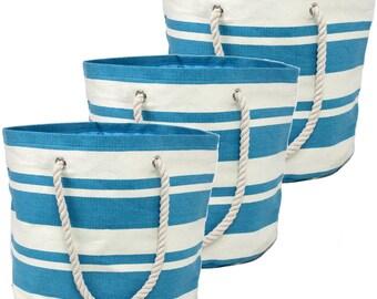 Striped Blue Beach Bag