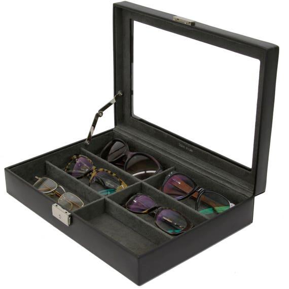 df9cf0d9d4 Eyeglasses Sunglasses Storage Case Leather Box Organizer for 6 Glasses