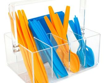 Paylak Caddy for Utensils Carrier Acrylic- Forks Spoons Knives Napkin Parties BBQ Picnic