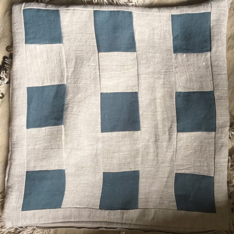 Ready to Ship/ Squared Up Linen 16 Pillowcase w/ image 0