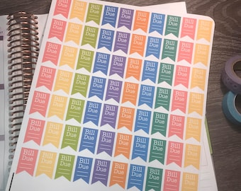 Bill's due stickers. Perfect for any planner!