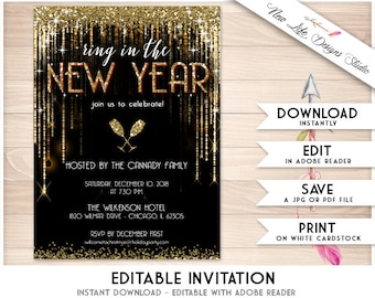editable new years eve invitation new years invitation black and gold new years party invitation gold glitter invite template diy