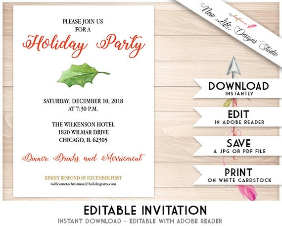 photo regarding Printable Holiday Party Invitations identify Holly Leaf Printable Xmas Occasion Invitation Template: Watercolor Holly Leaf Trip Social gathering Invitations, Do it yourself Immediate Obtain Editable PDF Enjoyment