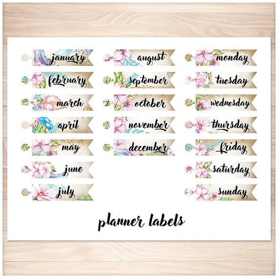 image relating to Divider Tabs Printable known as Planner Tabs - Printable Planner Markers - Every month divider tabs - Weekly Divider Tabs - Boho Watercolor Bouquets Printable Web site Dividers
