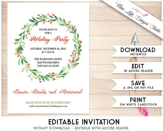 image regarding Printable Christmas Party Invitations named Holly Wreath Printable Xmas Celebration Invitation Template: Watercolor Holly Wreath Vacation Invitations, Do it yourself Fast Obtain Editable PDF Exciting