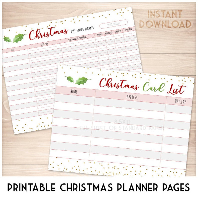 graphic relating to Printable Christmas Card List identified as Printable Xmas Present Providing Listing and Greeting Card Mailing Cover Record - Offer 2 Pack, Holly Leaves and Gold Glitter PDF Web pages Do-it-yourself