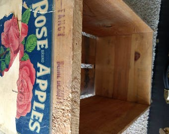 Antique Rose brand apples wooden box