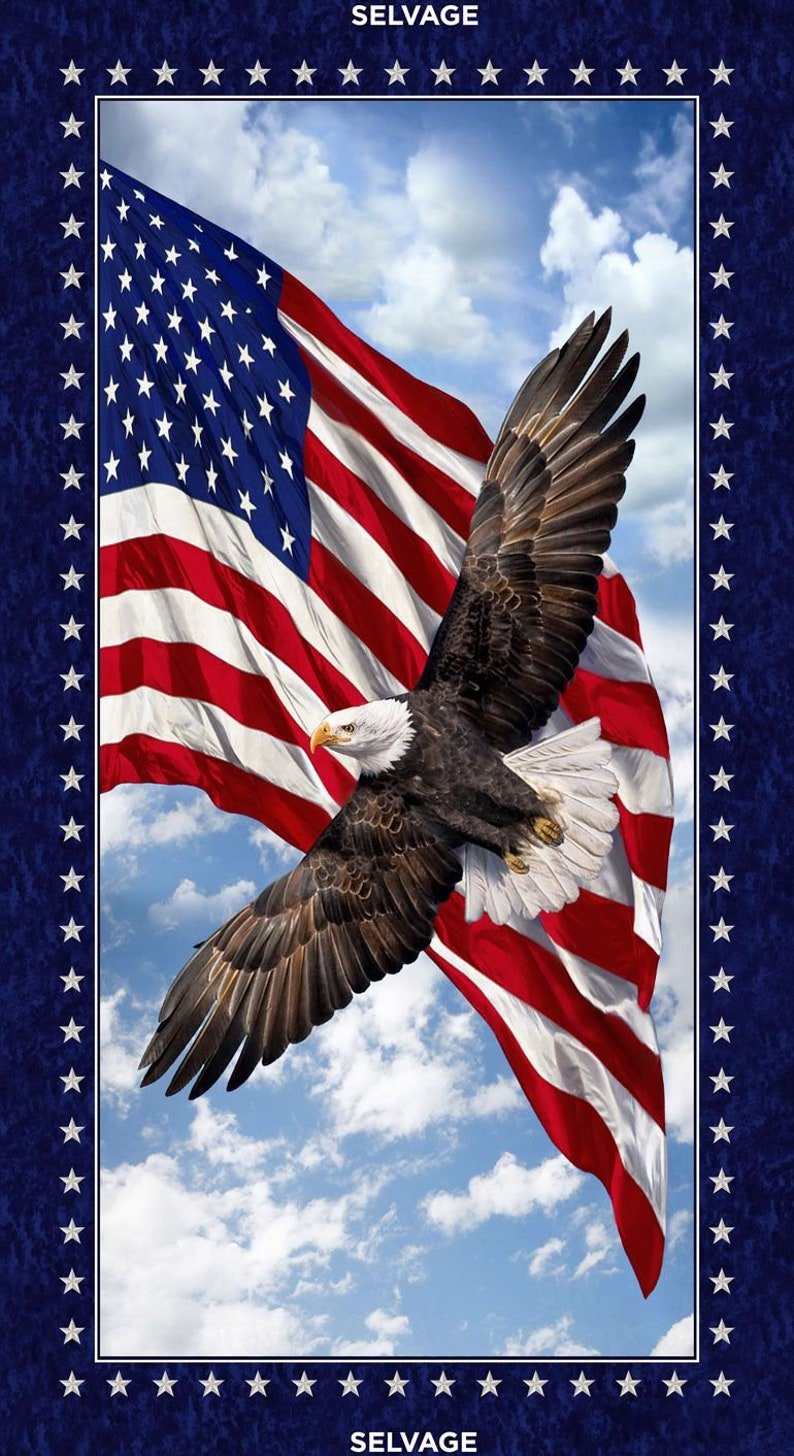 an eagle Land of the Free Patriotic Eagle panel from Timeless Treasures red 24 x 44 PANEL-C7448  MULTI Flag white and blue