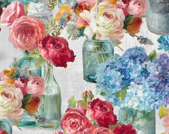 Flower Market fabric by Danhui Nai for Wilmington Prints.  Beautiful bright watercolor flowers in mason jars and coordinating fabric