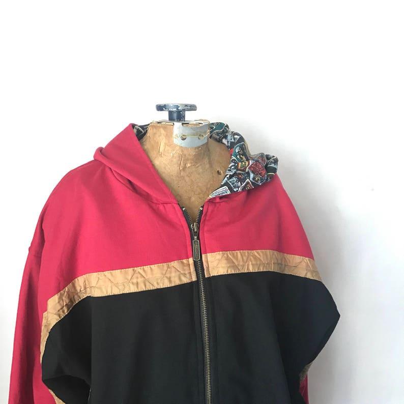 Medium Vintage Hoodie Light Coat Hooded Jacket Full Zip 80s Jacket