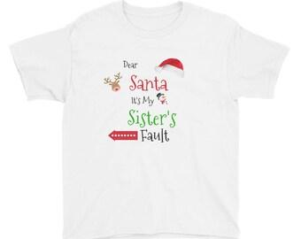 Girl t-shirt Long 10~12 Bling Bling Dear Santa It/'s My Little Sister Fault