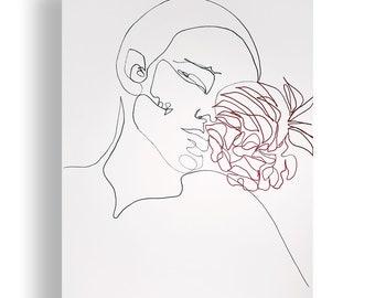 Flower Portrait Original Unique Minimal Line Ink Artwork on Paper One of a Kind