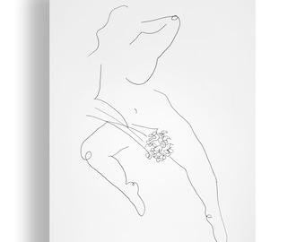 Her Portrait Original Unique Minimal Line Ink Artwork on Paper One of a Kind