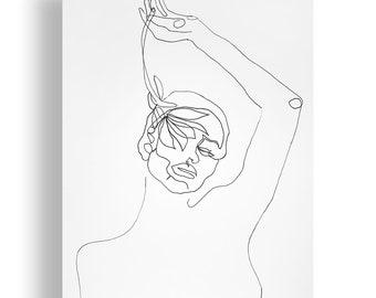 Hide Portrait Original Unique Minimal Line Ink Artwork on Paper One of a Kind