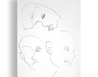 Faces Portrait Original Unique Minimal Line Ink Artwork on Paper One of a Kind