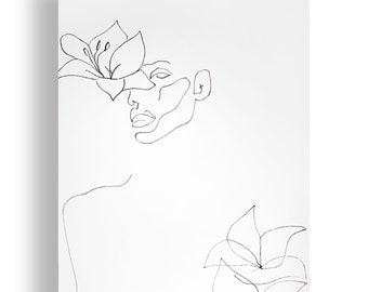 Lilies Portrait Original Unique Minimal Line Ink Artwork on Paper One of a Kind
