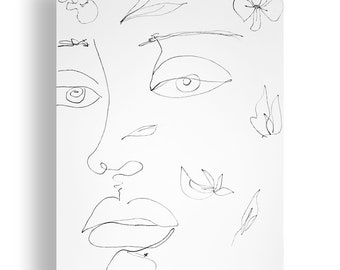 Petals Portrait Original Unique Minimal Line Ink Artwork on Paper One of a Kind