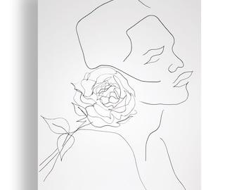Rose Portrait Original Unique Minimal Line Ink Artwork on Paper One of a Kind