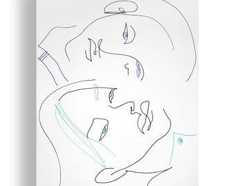 One Portrait Original Unique Minimal Line Ink Artwork on Paper One of a Kind