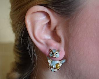 Sterling Silver Multi Pack of Owl Stud Earrings 2 Pairs Kids Womens Birds UK