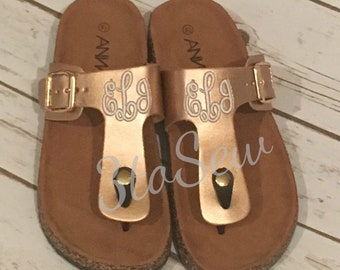 fd454be95 Monogram Custom Sandals Summer Sandals T-strap sandals Thong Sandals  Personalized
