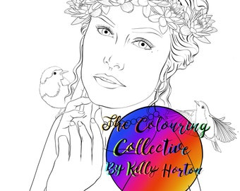Beauty and Nature Portrait Collection  -Adult coloring /colouring page / digital stamp, printable instant download.