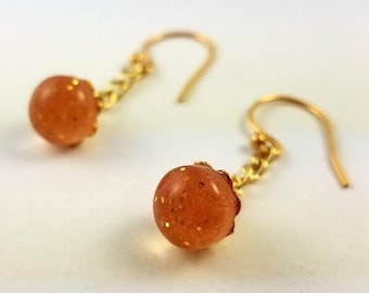 Small Dangling Earrings with Gold-Glittered Faux Amber Resin Beads, Gold Filigree Embellishments, and 22k Gold Plated French Hooks