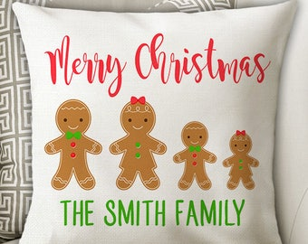 Christmas Family PILLOW, Gingerbread Family Names Pillow, Gingerbread Lover, Personalized Christmas Gift for Her, Pillow Cover or Sewn