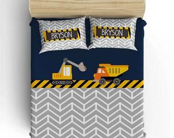 CONSTRUCTION BEDDING Comforter  Boy Duvet Cover, Construction Pillowcase  Bedding, Toddler, Twin, Queen  King  Monogram Boy Bedding Set