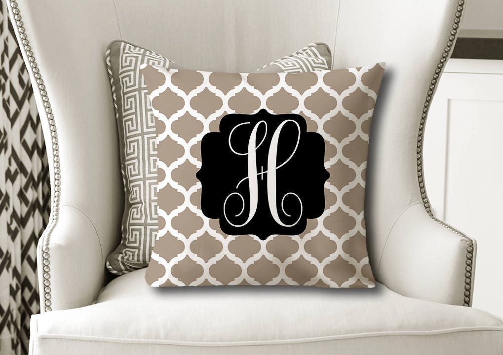 Monogram Throw PILLOW Trellis Beige Black Pillow Cover Or