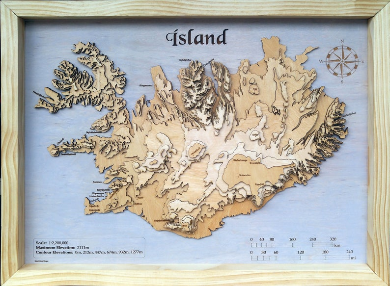 Iceland 3d Topographic Wood Map Etsy