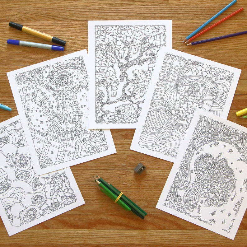 5 Abstract Printable Coloring Pages Coloring Sheets Instant image 0