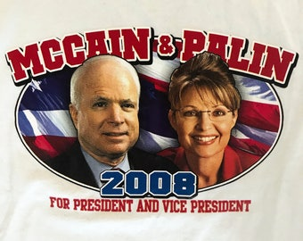 Sarah Palin John McCain USA Republican President Election Campaign Shirt M