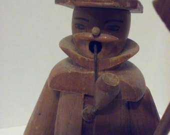 Vintage Wooden Erzgebirge Man Smoker, Incense Burner with Pipe, Lantern, and Axe from German Democratic Republic. Free Shipping