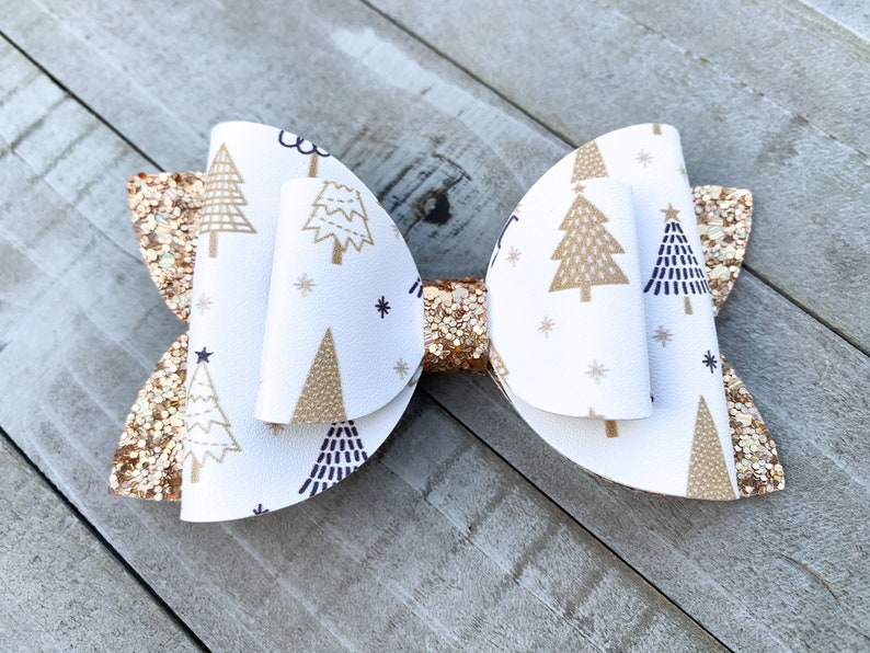 Holiday Mommy and Me Bow and Earrings Stocking Stuffer Gift for Girls Gold Christmas Trees Accessory Set Glitter Hair Clip and Studs