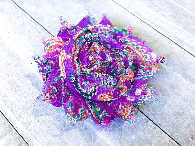 Purple Paisley Flower Hair Clip Floral Accessory for Elastic Headband Gift for Country Girl Violet Bandanna Pattern Barrette