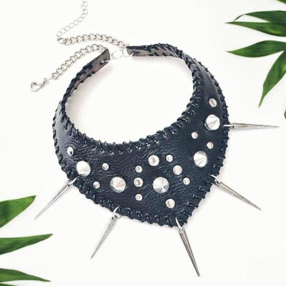 Handmade Genuine Leather choker with spikes