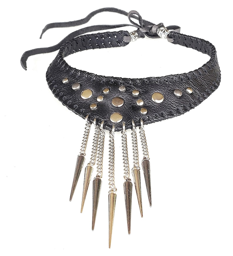 exclusive design layered spikes necklace spiked black leather choker leather necklace w spikes Black leather choker w chains and spikes