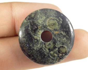 Green Moss Agate 50 mm Undrilled Smooth Donut