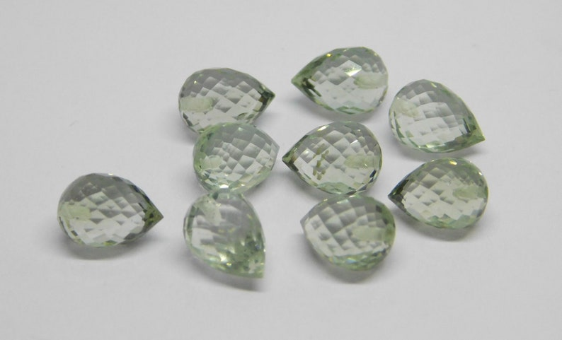 FD-60 Natural Green Amethyst Faceted Handmade Teardrops Shape Fat Side Drill 7x10mm Perfect For Earring 3 Matched Pair