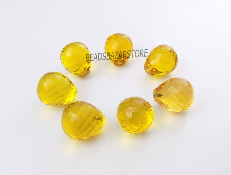 AAAA Leman Hydro Quartz Faceted Handmade Teardrop Top Half Drill 14x16mm 6 Piece Perfect For Earring 3 Matched Pair