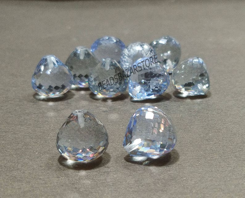 AAAA Sky Blue Topaz Hydro Quartz Faceted Handmade Onion Shape Top Half Drill 12x12mm 10 Piece Perfect For Earring 5 Matched Pair