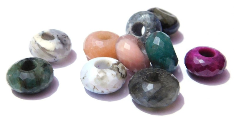 30pc Natural Indian Agate European Large Hole Rondelle Beads Stone Spacer 14x8mm