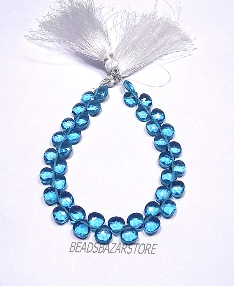 AAAA Neon Apatite Hydro Quartz Faceted Handmade Heart Shape Side Drill Briolette Beads 8x8mm 8 Inch Strand