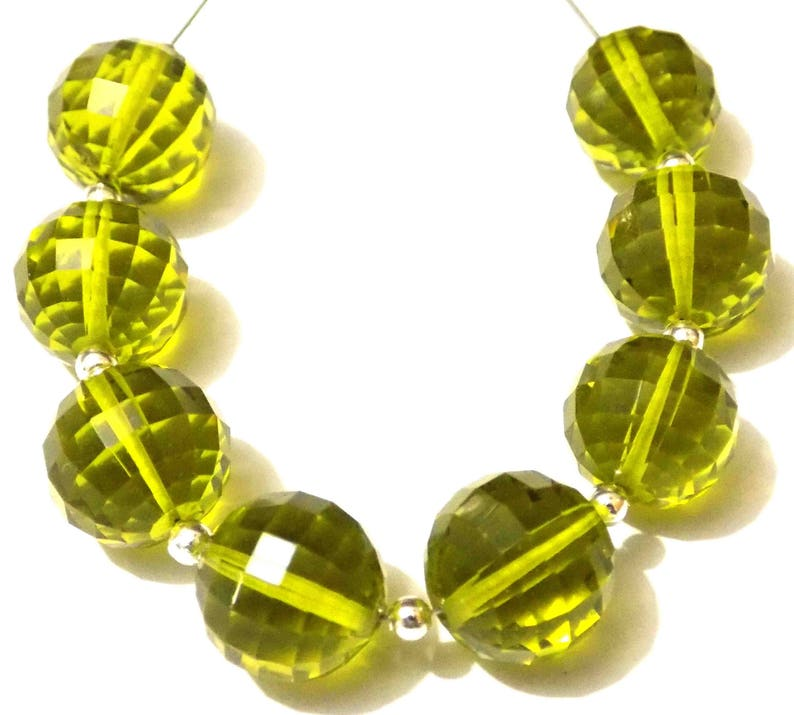AAAA Lime Green Hydro Quartz Step Cut Handmade Round Ball Beads 8mm-18mm Straight Full Drill 12 Piece 6 Matched Pair Each Strand