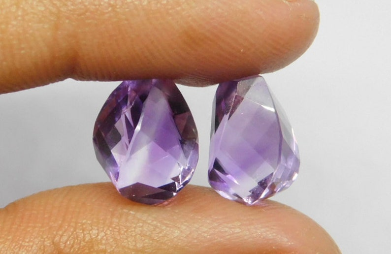 Natural Purple Amethyst Step Cut Handmade Twisted Shape Top Half Drill 8x12mm Perfect For Earring 2 Matched Pair FD-86