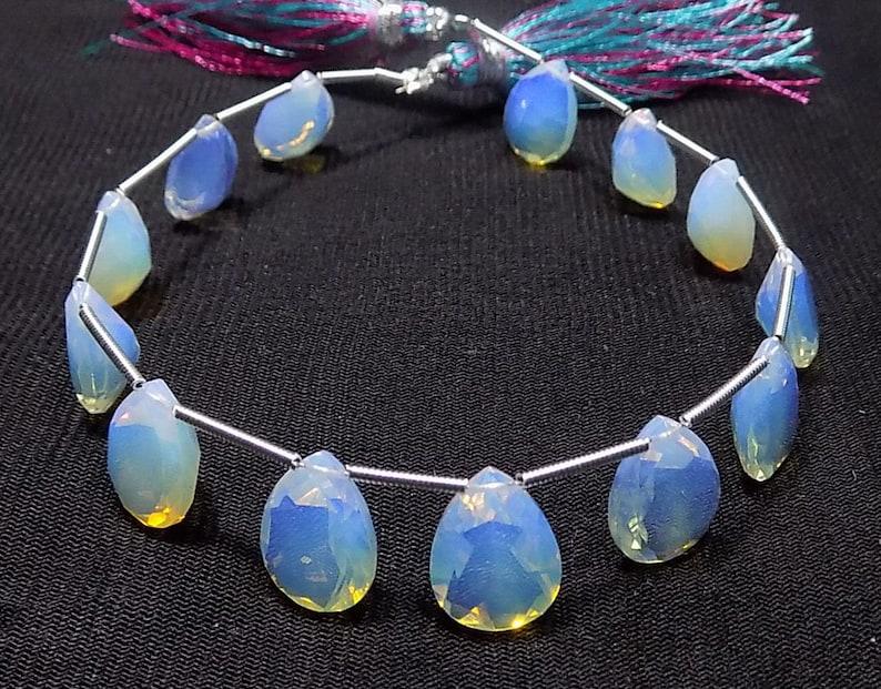 AAAA Opelite Faceted Handmade Pear Shape Side Drill Briolette Beads 8x11mm 12 Piece