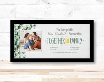 Adoption Together We Are Family Photo Personalized Sign, Four Frame Finishes, Birth Story, Baby