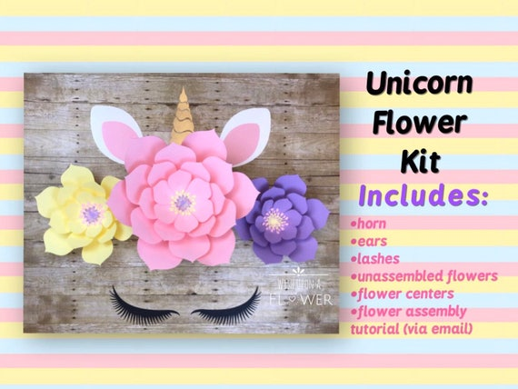Unicorn Backdrop Assemble Your Own Unicorn Paper Flower Diy Etsy